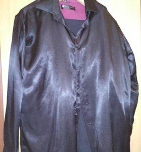 Рубашка черная шелковая