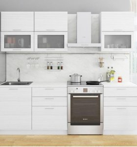 Прямая кухня Белый глянец