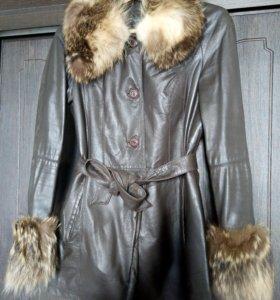 Кожаная куртка с мехом (все натуральное)
