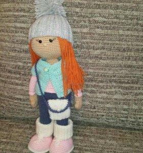 Вязанная игрушка кукла Рыжуля
