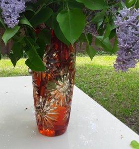 Ваза для цветов. Двухслойный хрусталь
