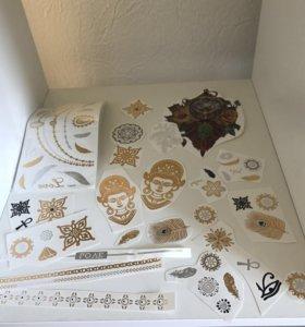 Золотые, серебряные тату переводные Top Shop UK