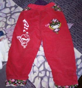 Тёплые штаны на девочку 2-3 года