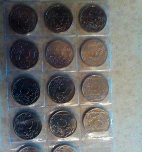 Набор из 14 монет.Города столицы 5 рублёвые.