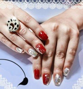 Наращивание ногтей гель акрил,дизайн