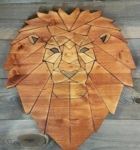 """Деревянное панно """"Лев. Царь зверей"""""""