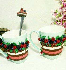 Комплект кружка+ложка ягодный тортик