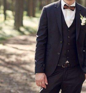 Мужской костюм тройка коричневый Patrik Man