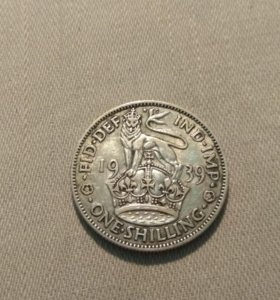 Монета серебряный Шиллинг Великобритании
