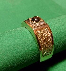 Перстень мужской с чёрным бриллиантом