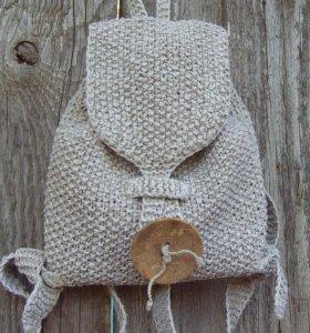Рюкзак детский, вязаный из льняной пряжи
