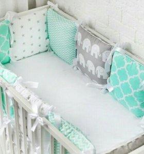 Бортики в кроватку подушки