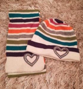 Комплект шапка и шарфик 1-4 года