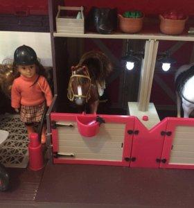 Конюшня для девочки 2 лошади и наездница в подарок