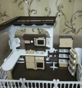 Домик для кукол с мебелью