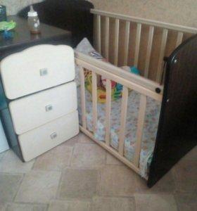 Детская кровать цвет клен- венга,новая