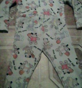 Тёплая пижама на 2-3 года