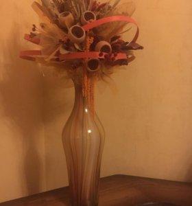Ваза из венецианского стекла с сухоцветами