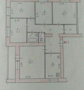 Квартира, 5 и более комнат, 84 м²