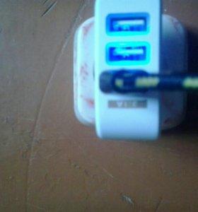Зарядка USB на 2.1 ,2 , 1 А т.е. на три порта .