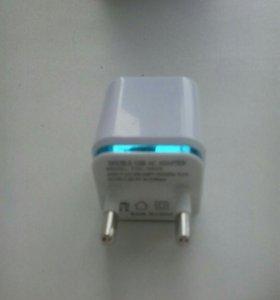 USB зарядка на два порта 2.1 ; 1 А