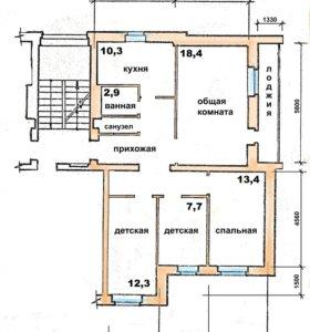 Квартира, 4 комнаты, 86 м²