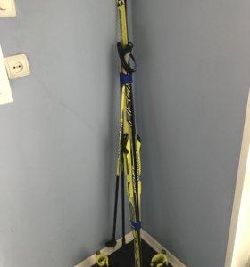 Лыжи беговые юниорские Fischer + палки +ботинки(32