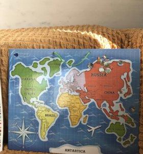 Магнитная карта мира  itsimagical