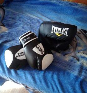 Боксёрские перчатки, боксёрский шлем