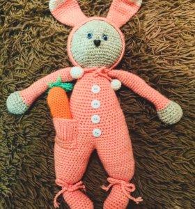 Заяц в пижаме Амигуруми