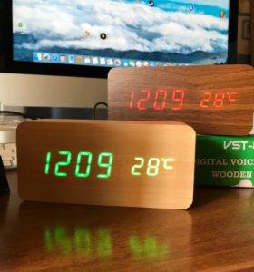 LED часы Wooden Clock
