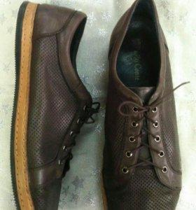 Мужские кожаные итальянские туфли-полуспорт