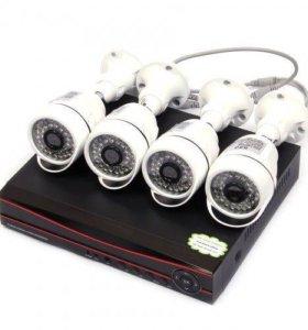 Полный комплект видеонаблюдения.