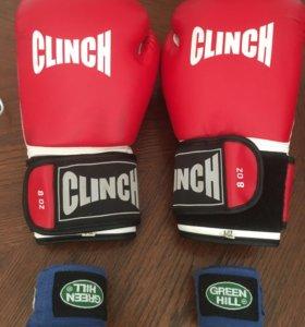 Перчатки боксёрские + бинты для единоборства