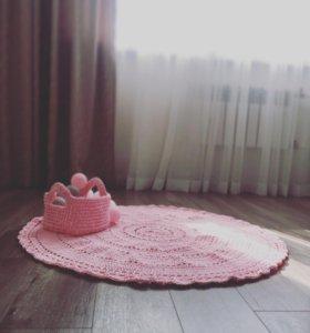 Коврик корзинка трикотажный пуф гирлянды детский