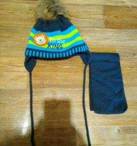 Зимний комплект, шапка, шарф 1-3 лет