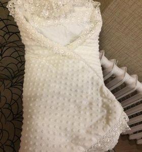 Одеяло на выписку+пеленочка с кружевами