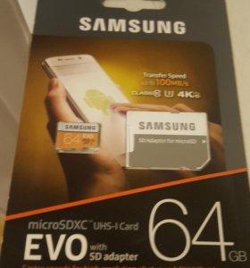 SD карта на 64 GB новая