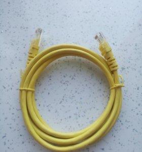 Патч корд в толстой желтой оплетке. Новый