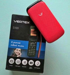 Телефон Vertex S103 ( раскладушка, 2 Сим ), новый