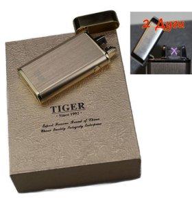 Импульсная 2х дуговая USB зажигалка TIGER золото