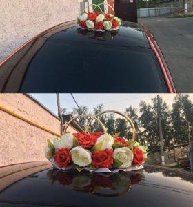 Свадебное украшение на машину (кольца)