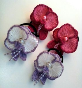 Резиночки для волос Орхидеи. Вязаные.