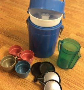 Термос с чашками, набор для рыболова/охотника/тур