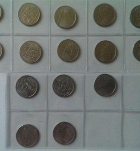 Монеты по 25 центов США 15 штук