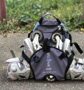 Ролики Rollerblade (рюкзак и защита)