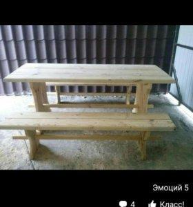 Стол и лавки из дерева
