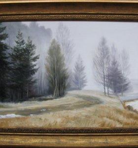 Картина маслом. Туман в Подмосковье. 30х40см.