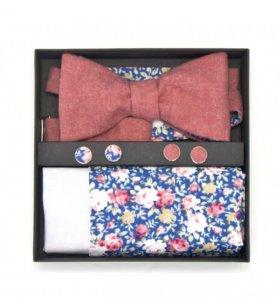 Набор галстук-бабочка, платок, запонки