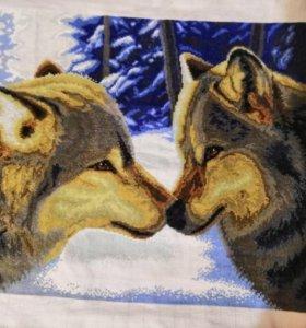 Вышивка крестиком,Два волка ручная работа